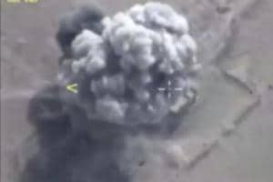 A still image taken from a video footage and released by Russia