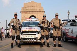 Women commandos of the Delhi Police Parakaram vans showcase their full combat gear.