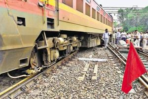 New Delhi Railway Station is the busiest station in the national capital handling over 2,500 trains and an average daily footfall of about five lakh. In picture is the Ranchi-New Delhi Rajdhani Express that derailed on Thursday