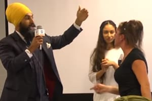 "The woman stormed off after Jagmeet Singh kept saying ""we will not be intimidated by hate""."