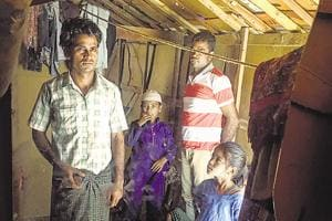 Zahid Hussain (extreme left) at his temporary home at the Rohingya camp in Jammu.