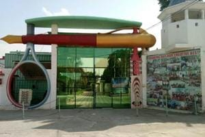 The entrance to a 7-star resort inside the Dera headquarter in Sirsa.