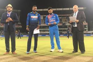 Sri Lanka captain Upul Tharanga with his Indian counterpart Virat Kohli at the toss during the lone T20I at Colombo.