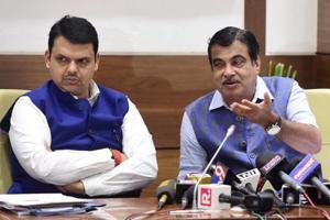 Maharashtra chief minister Devendra Fadnavis and Union minister Nitin Gadkari during a press conference in Mumbai on Friday.