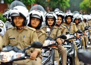 The Shakti squad comprises 40 women police constables on two-wheelers.