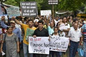 Jaypee group home buyers protest against the owners and the management of Jaypee Group in New Delhi.