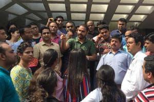 Parents protest outside the Ryan International School in Noida's Sector 39. Parents are demanding tighter security after a Class 2 student was murdered at the school's Gurgaon branch on September 8.