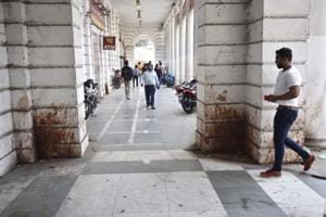 A corridor in central Delhi's Connaught Place. In Delhi, the on and off awareness campaigns launched by the municipalities have done little to dissuade people from turning the Capital into an open spittoon.