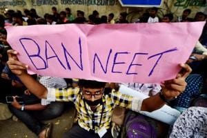 Chennai: Loyola College students during their protest demanding justice for Anitha and urging the Central government to ban NEET, in Chennai on Wednesday