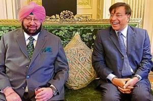 CM Capt Amarinder Singh with industrialist Lakshmi Niwas Mittal in London.