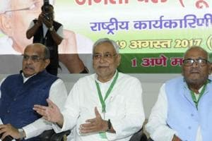 Bihar chief minister and JD(U) national president Nitish Kumar at a party's national executive meeting in Patna on August 19.