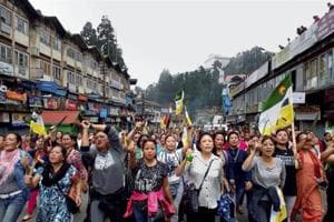 Protesters in Darjeeling demand a separate state of Gorkhaland.
