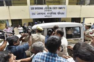 Fourty two-year-old Ashok Kumar, who  allegedly slit the throat of an eight-year-old in Ryan International School, Bhondsi, on Friday morning was produced before a court on Tuesday.