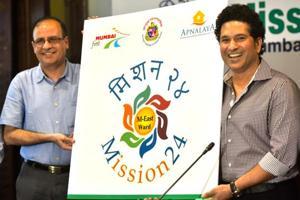 BMC commissioner Ajoy Mehta and Sachin Tendulkar launch Mission-24 at BMC head office in Mumbai on Tuesday.