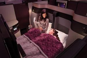 The Qatar Airways QSuite offers a double bed for Business Class passengers.