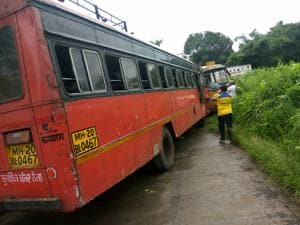 The incident took place when the school bus carrying students collided with a Maharashtra State Road Transport Corporation (MSRTC) bus at Dahagaon.