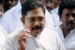 TTV Dinakaran addresses the media after calling on Tamil Nadu governor CH Vidyasagar Rao, in Chennai.