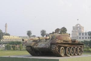 The tank is placed on a raised platform in an open space that is now a part of college's 'memorial park'.
