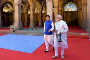 Prime Minister Narendra Modi and Japanese Prime Minister Shinzo Abe during a visit to the Sidi Saiyyed Mosque in Ahmedabad on Wednesday.