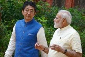 Prime Minister Narendra Modi with Japanese Prime Minister Shinzo Abe at Gandhi Ashram in Ahmedabad on Wednesday.