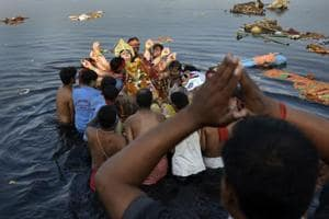 Idols from nearly 200 Durga Pujas from across Delhi, Gurgaon, Noida, Ghaziabad and Faridabad are immersed at different Yamuna ghats every year.