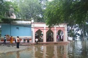 Mahatma Gandhi memorial set up in 1965 in Madhya Pradesh's  Barwani submerged under surging Narmada waters on Friday.