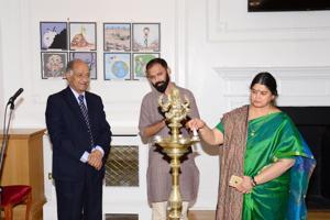 Vibha Mehdiretta inaugurating the Cartoon Selfie Exhibition at the Nehru Centre, London.