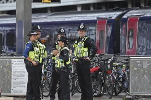 Police provide security at Paddington mainline train station in London, after a terrorist incident was declared at nearby Parsons Green subway station Friday, September 15.