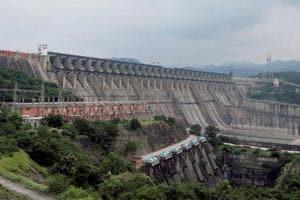 A view of the Sardar Sarovar Dam on the Narmada river.