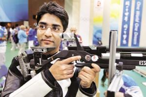 Abhinav Bindra poses for a photo after the men