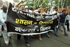 People demand justice for Pehlu khan who was lynched in Alwar, at a rally in Jaipur.