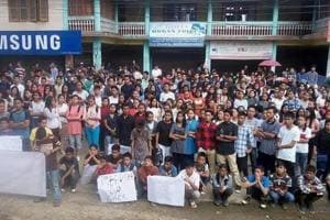 All Arunachal Pradesh Students' Union protests in Itanagar against the Centre's move to grant citizenship to Chakma and Hajong refugees on Tuesday.