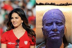 Why has Sunny Leone covered her pretty face in goo? Prosthetics for a...