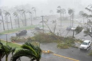 Strong winds and rains lashed Puerto Rico as Hurricane Maria made landfall on Wednesday.