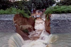 The wall of Kohalgaon dam which collapsed during the trial run and inundated nearby areas of a township in Bhagalpur on Wednesday, ahead of its scheduled inauguration by Bihar Chief Minister Nitish Kumar.