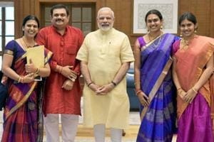 MS Subbulakshmi's great-granddaughters meet PM Modi