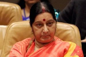 External Affairs Minister Sushma Swaraj attends a meeting in UN in New York on Tuesday.