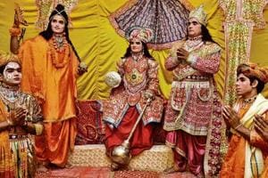 Artistes from Vrindavan in Uttar Pradesh performing on the first day of Ramlila at Sector 47 in Chandigarh on Wednesday.
