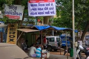 On Thursday, anonymous banners surfaced in Ahmedabad cautioning people to be careful as Vikas has gone crazy and pothole-ridden roads will break your bones.