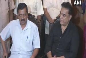 Delhi chief minister Arvind Kejriwal meets Kamal Haasan in Chennai