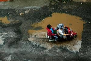 Potholes emerged near Ambegaon Pathar in Pune on Thursday after continuos rainfall.