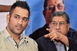 MS Dhoni meets N Srinivasan during visit to India Cements office in...