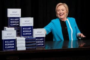 Former Secretary of State Hillary Clinton attends a signing of her new book