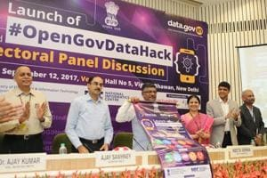 The union minister of law and electronics and information technology Ravi Shankar Prasad att the launch of Hackathon in New Delhi in September this year. The participants were urged to use the open data from government wbsite to develop apps.