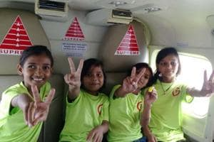 Flight of fantasy for four underprivileged children, who fly from Kota...
