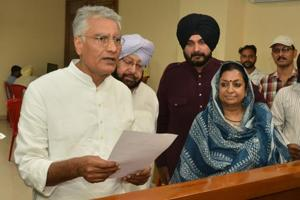 Congress' Sunil Jakhar filing nomination papers for the Gurdaspur Lok Sabha bypoll, accompanied by Punjab chief minister Amarinder Singh, local bodies minister Navjot Singh Sidhu, and state party affairs in-charge Asha Kumari .