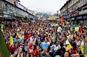 In Darjeeling on Friday, protestors demanded the establishment of Gorkhaland.