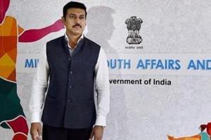 Sports minister Rajyavardhan Singh Rathore takes aim with Khelo India
