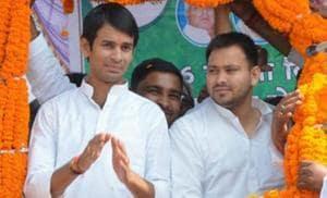 Brothers Tej Pratap Yadav and Tejashwi Prasad Yadav, sons of RJD chief Lalu Prasad.