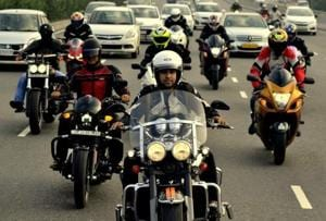 Bikers from the group Brotherhood Riders of Superbikes (BROS).